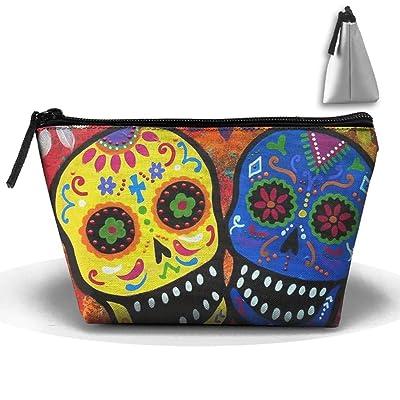 FVHTFTY Dead Sugar Skull Personality Portable Women Trapezoid Travel Bag Cosmetic Bag Receive Bag