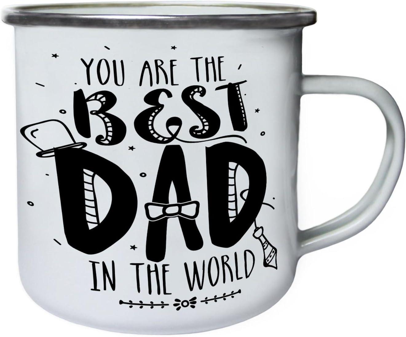 Enamel 10oz Mug b658e Best Dad In The World Father/'s Day  Retro,Tin