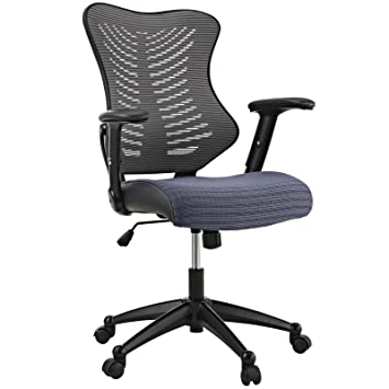 Modway Clutch Office Chair With Black Mesh Back And Seat, Grey