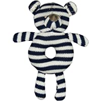 ES Kids Knitted bear ring rattle navy blue