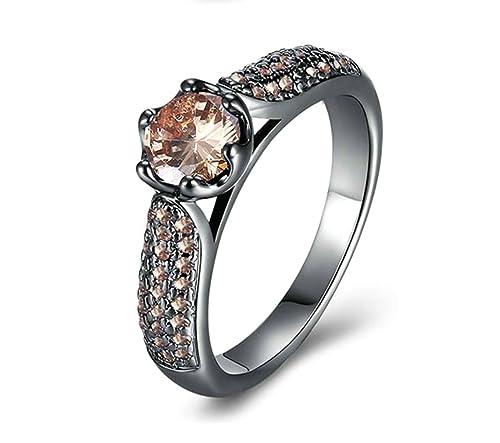 91d2ce86ee9e Blisfille Anillo Mariposa Compromiso Anillo Compromiso Mujer Oro Blanco Y Diamante  Anillo de Mujer Chapado en
