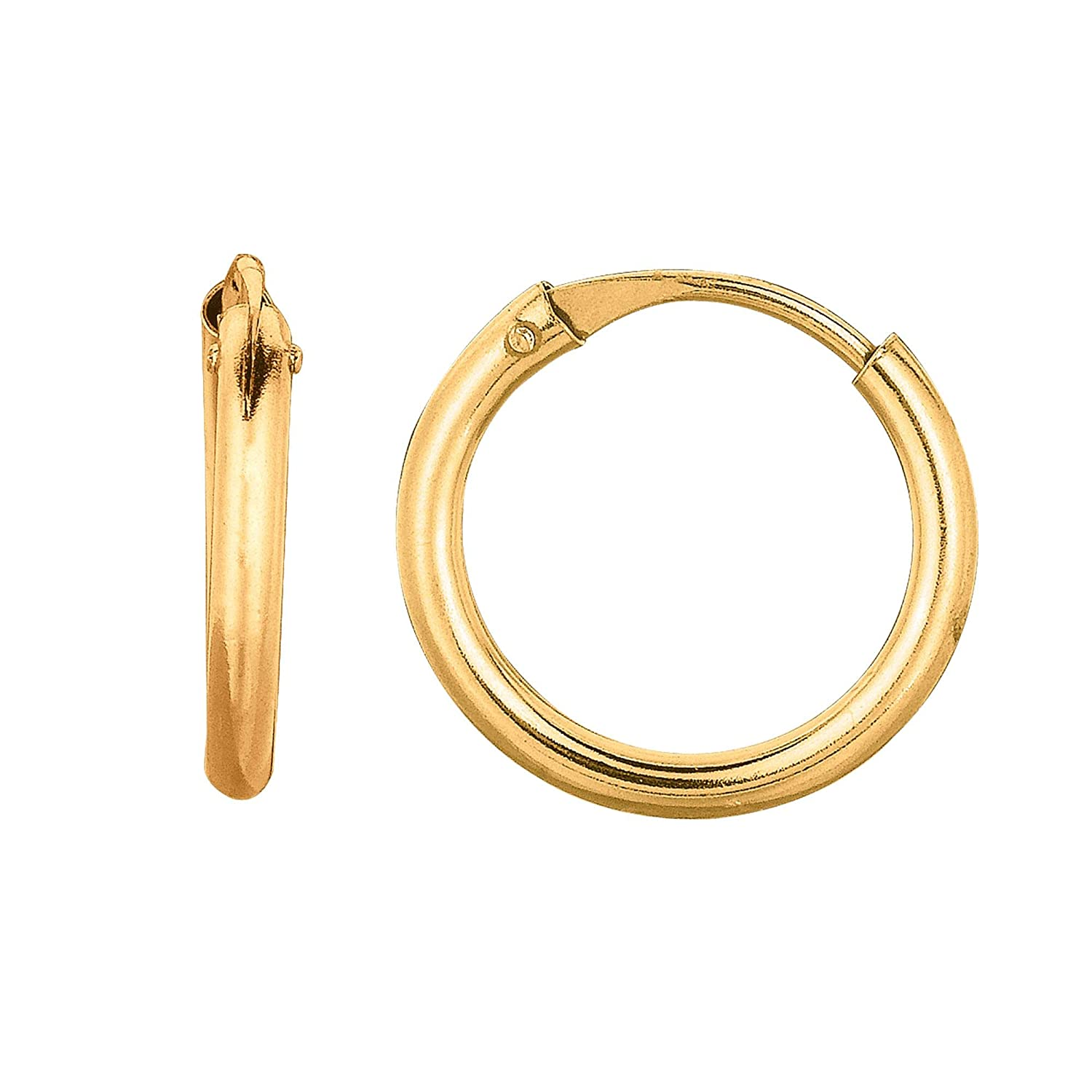 10K Yellow Gold 1X10mm Shiny Small Endless Round Hoop Earrings with Hinged by IcedTime