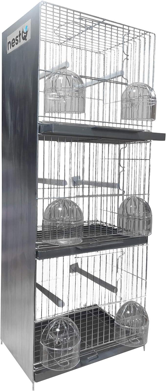 nestQ Jaula Triple Pajaros en Disposición de Tres Niveles en Vertical para Canarios Jilgueros Verderones Aves Silvestres Exotico Tropicales