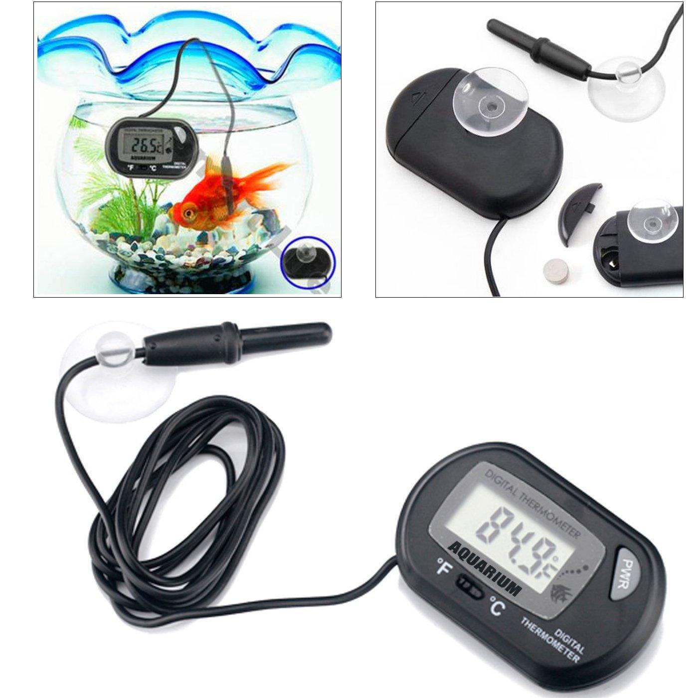 Professional Digital Thermometer for Hydroponics & Aquaculture , Amphibian & Reptile Terrariums , Freshwater Tropical Fish & Saltwater Fish Aquariums , Black by AROCCOM (Image #5)