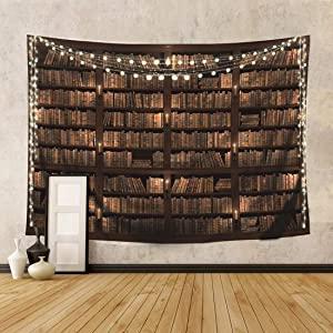 Wowzone Vintage Library Tapestry Bookshelf Wooden 60x80 Inch Study Room Scene Full of Old Books Classic Wall Hanging Art Decor Fabric Home Dorm for Living Room