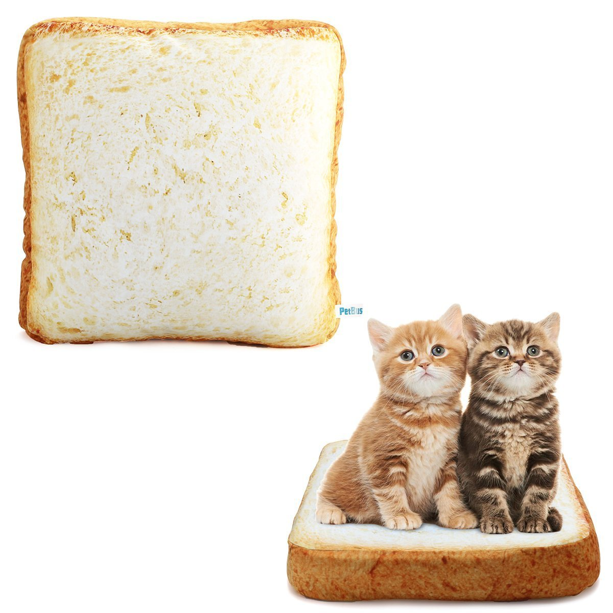 Petbus Cat Dog Bed Mat Pet Mattress Pad Creative Toast Bread Foam Cushion for Cute Animal Catty and Doggy Sleeping Playing Resting (Down)