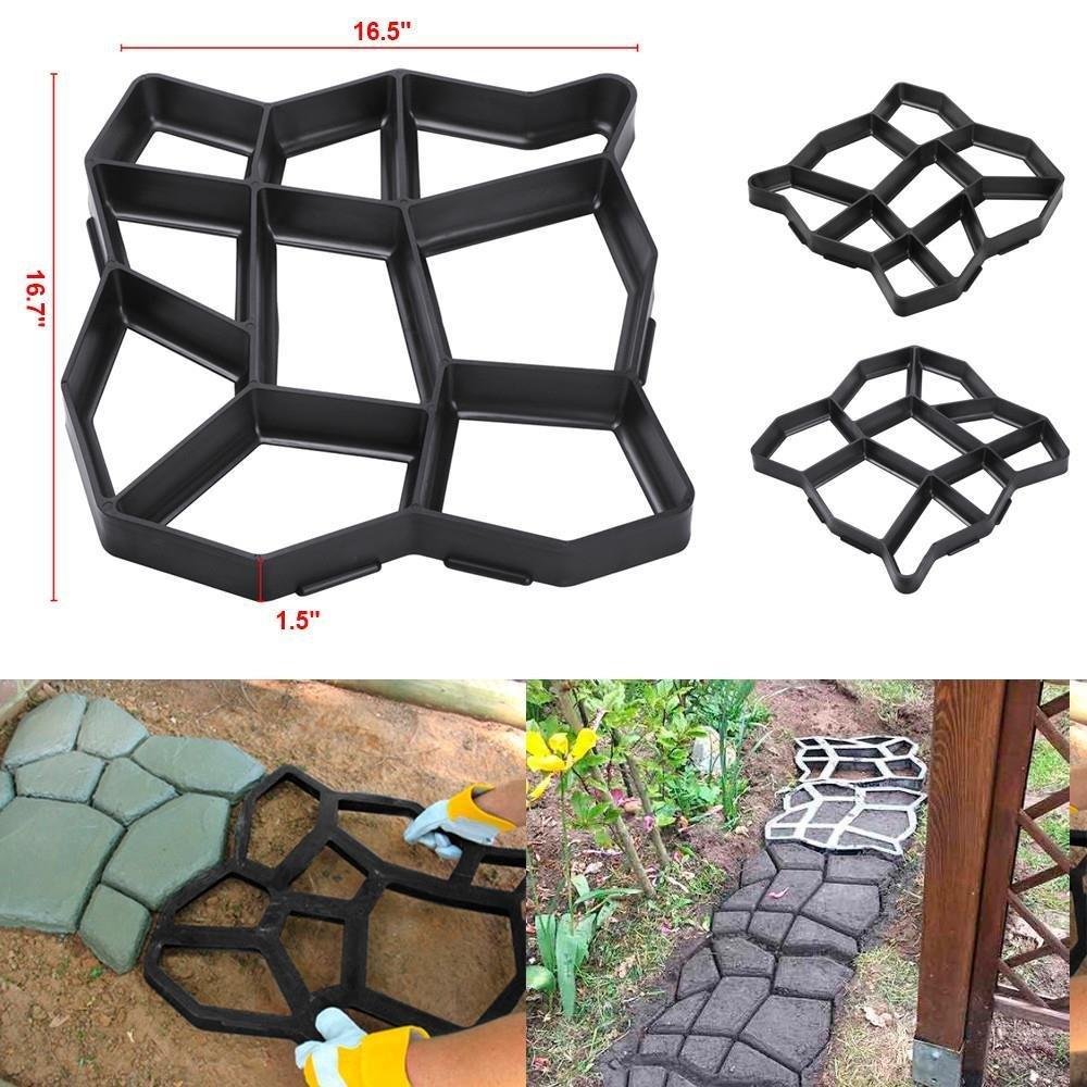 go2buy 2 Pack Plastic Pathmate Walk Way Paver Concrete Stone Mould Paving Mold Black