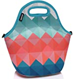 Lunch Holder,Vaschy Neoprene Insulated Lunch Bag Tote for Girls Womens One Size Retro rhombus