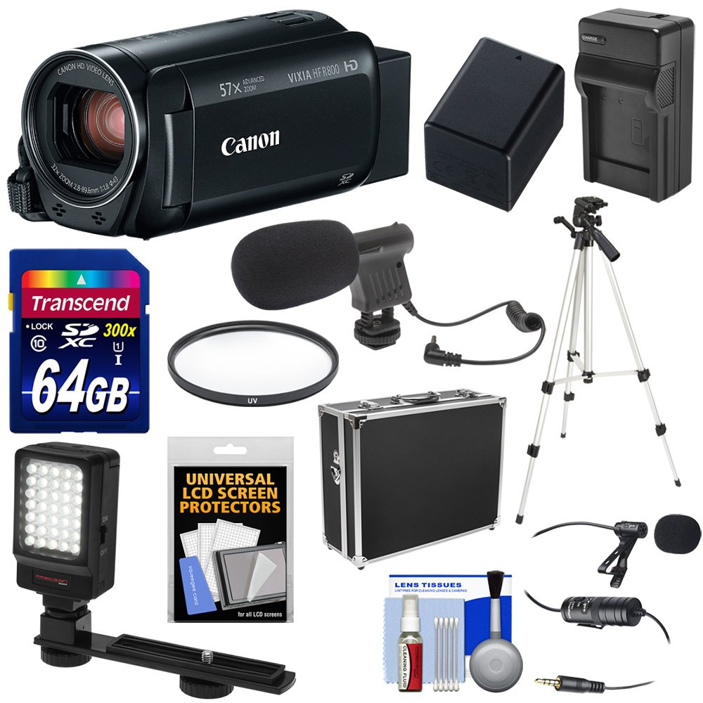 Canon Vixia HF R800 1080p HD Video Camera Camcorder (Black) with 64GB Card + Battery & Charger + Hard Case + Tripod + LED Light + 2 Microphones Kit