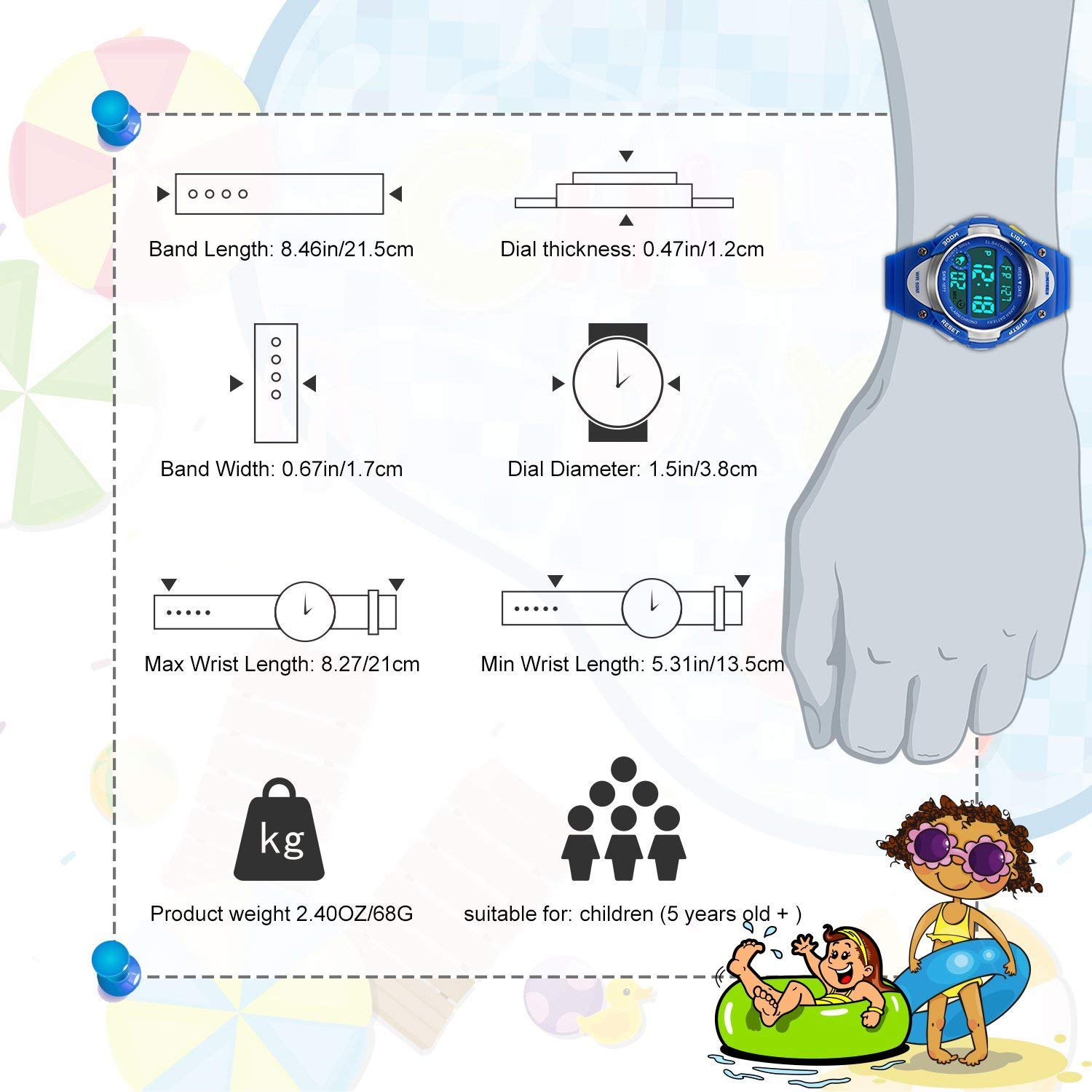 Boys Sport Digital Watch, Kids Outdoor Waterproof Electronic Watches with LED Alarm Stopwatch - Blue by cofuo (Image #7)