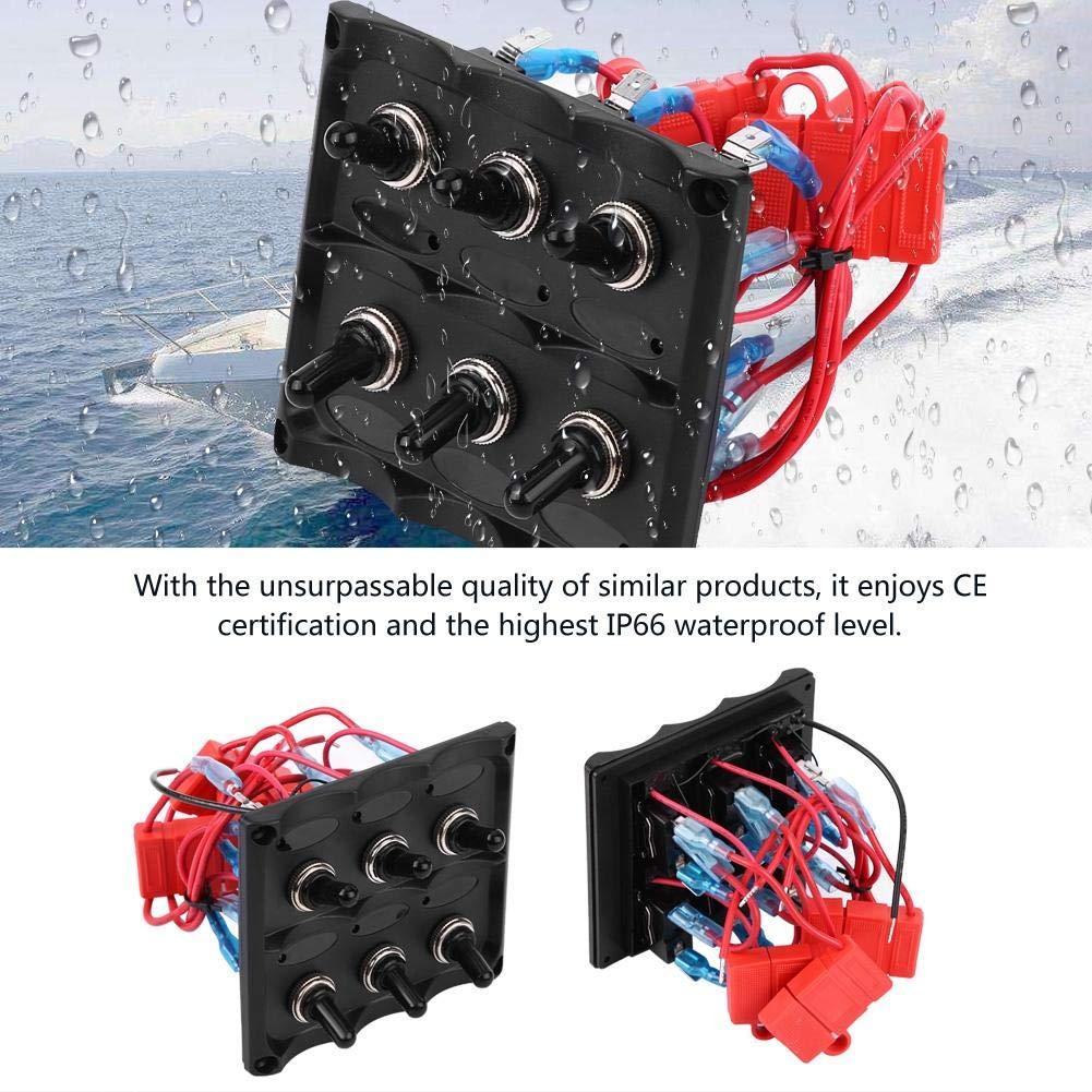 12V-24V a prueba de agua Coche Barco Marino 6 Gang Toggle Switch Panel Fuse LED Light Panel de interruptores