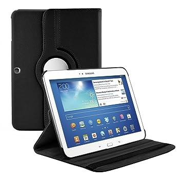 kwmobile Funda compatible con Samsung Galaxy Tab 3 10.1 P5200/P5210 - Carcasa de cuero sintético para tablet en negro