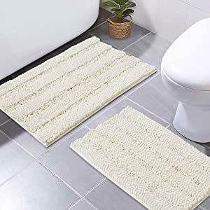 "NICETOWN Super Thick Soft Striped Shaggy Chenille Bath Mats Machine Washable Bath Rugs for Bathroom, Dry Fast Water Absorbent Mats for Floor Master Bedroom Kitchen (Ivory, Pack 2-20"" x 32""/17"" x 24"")"