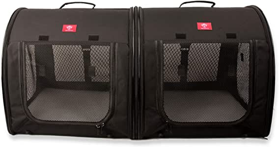 """One for Pets Portable 2-in-1 Double Pet Kennel/Shelter, Fabric, Black 20""""x20""""x39"""" - Car Seat-Belt Fixture Included"""