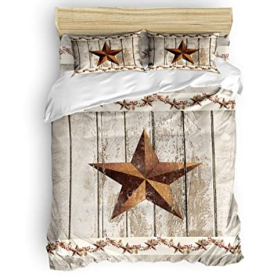 Duvet Cover Set Printed 4 Pcs Bedding Set King Size Include Duvet Cover, Bed Sheet, Pillow Shams Western Texas Star Rustic Wood Farm Pattern Soft Quilt Sets for Children/Adults: Home & Kitchen