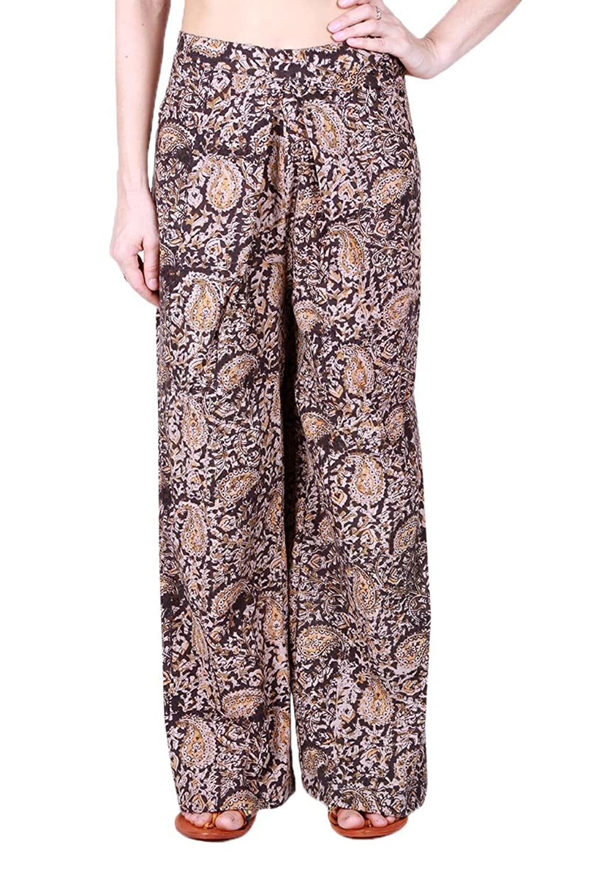 Mlide Womens MId Waist Casual Floral Print Drawstring Wide Leg Pants