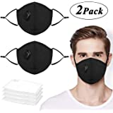 JIAMO Mouth Mask, Windproof Unisex Cotton Anti Pollution Mask with Valve Respirator, Protection from PM2.5, Exhaust Gas, Germs, Smoke, Allergies of Outdoor Activities (2 Pack Masks+ 4 Filters)