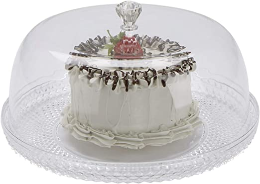 Acrylic Cupcake Stand Birthday Cake Cookie Muffin Display Serving Plate+Dome Lid