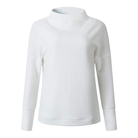 Sayah Women s Long-Sleeve Crew Neck Turtle Neck Keep Warm Classic Knitted Shirt  White S 2860e4f3c