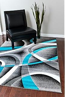 2305 Turquoise White Swirls 7u002710 X10u00276 Modern Abstract Area Rug Carpet