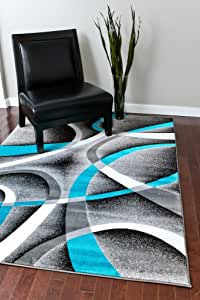 2305 Turquoise White Swirls 5'2 x 7'2 Modern Abstract Area Rug Carpet