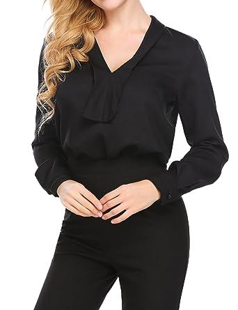 9503d532da9f10 SE MIU Women Casual V-Neck Long Sleeve High Low Chiffon Shirt Blouse Top  Black