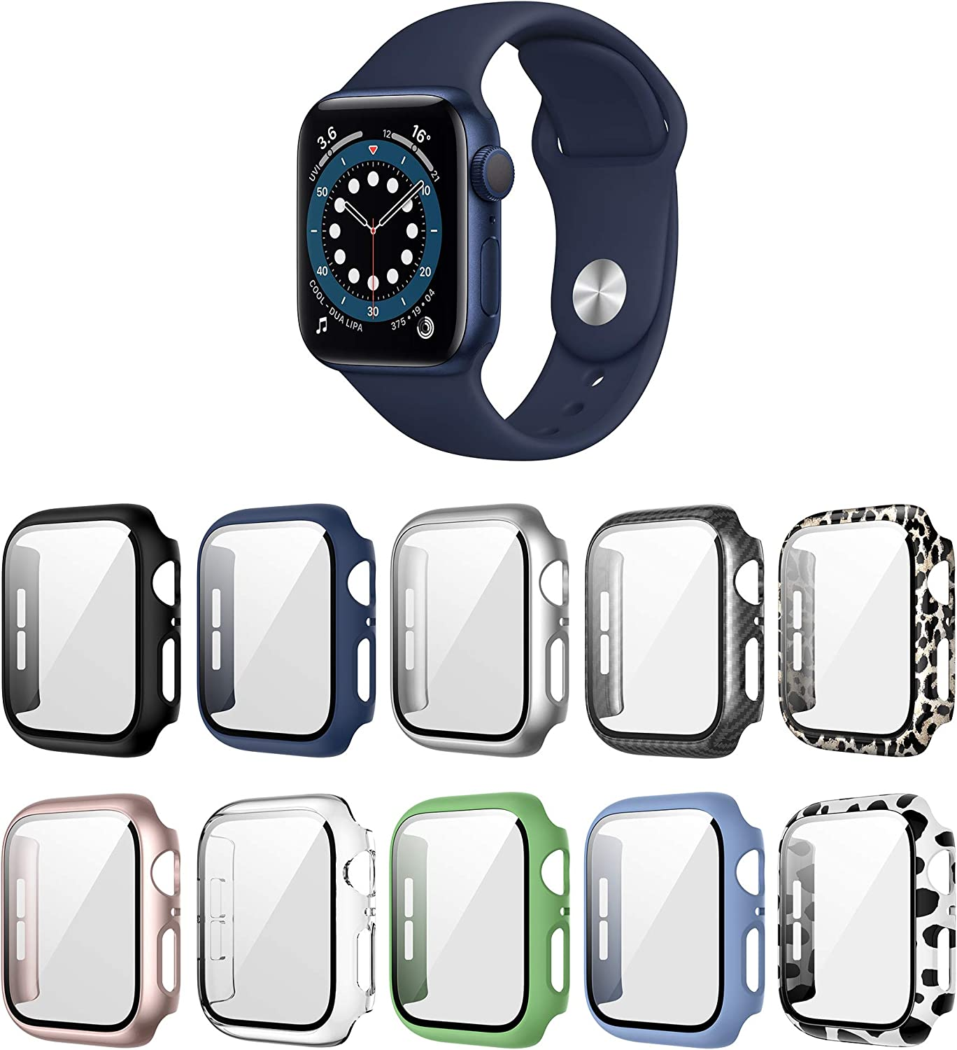 Landhoo 10 Pack case for Apple Watch Series 3 Series 2 38mm Screen Protector with Tempered Glass, Hard PC HD Full Cover Protective iwatch.