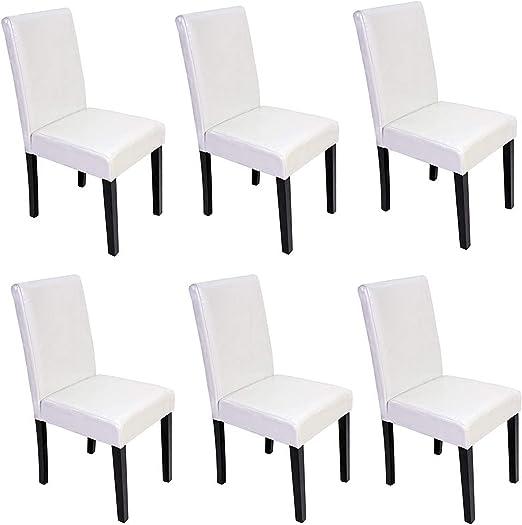 Mendler 6X Esszimmerstuhl Stuhl Küchenstuhl Littau ~ Leder, weiß, dunkle Beine