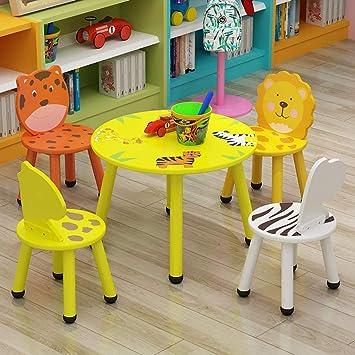 Juego de mesa y silla para niños Mesa redonda de madera para niños ...