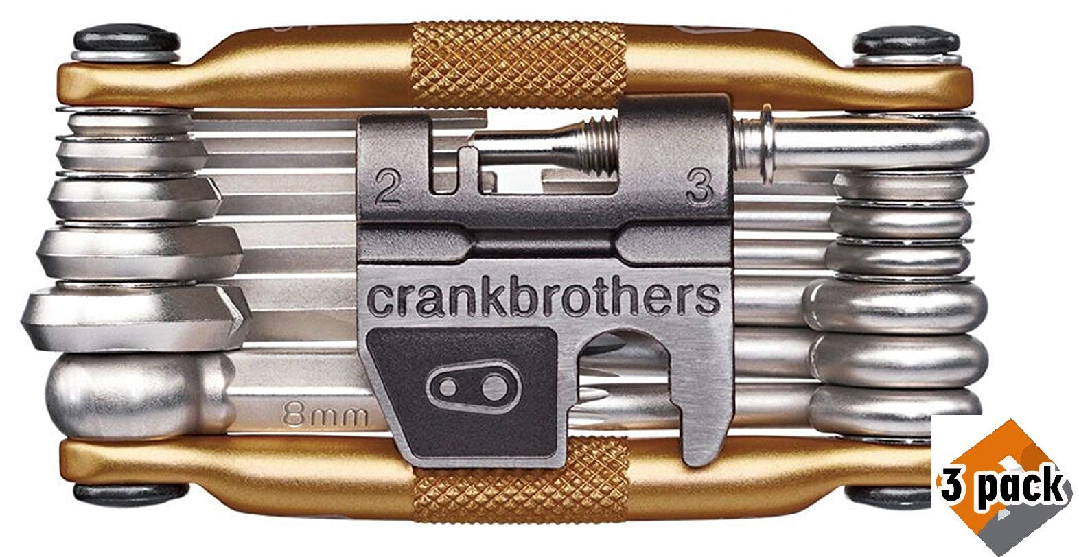 CRANKBROTHERs N2 M19 Bicycle Multi-Tool - Steel Bike Tool, Torx, Hex and Chain Tool Compatible, 3 Pack