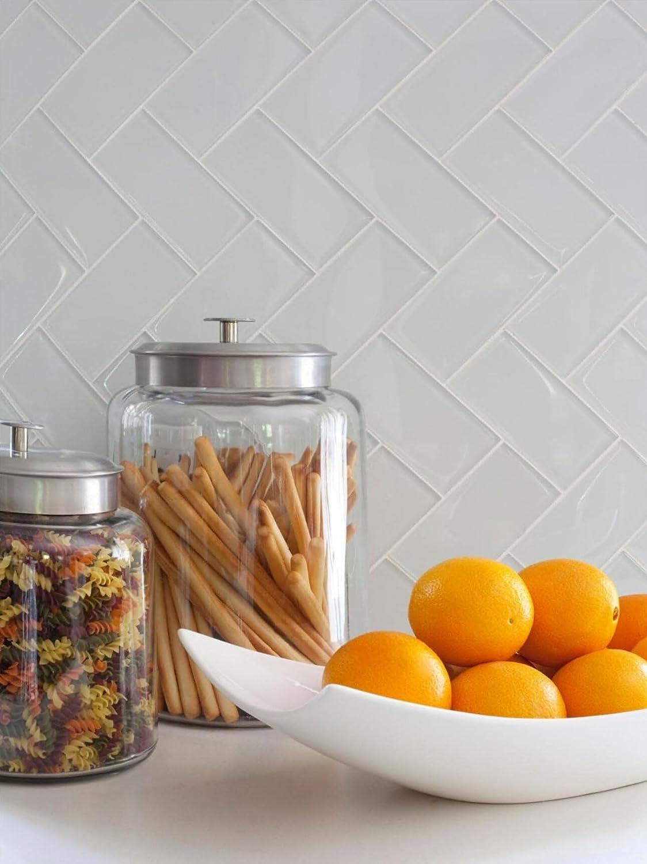 Art3d 40-Piece Peel and Stick Glass Tiles for Kitchen Backsplash 3 x 6 White Subway Backsplash Tiles