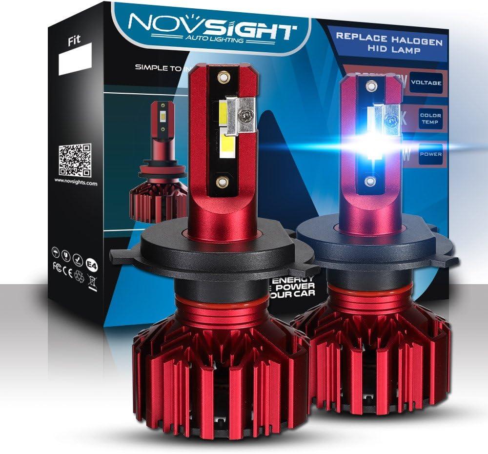 Bombillas LED para coche Novsight de 1 par, 10000 lúmenes, H1 H4 H7, casquillos para camión, ventilador silencioso interior, impermeable, IP68, 2 años de garantía