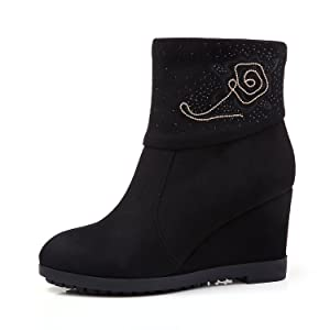 yBeauty Women's Wedge Booties Zipper Ankle Boots High Heel Rhinestone Embroidered Booties Round Toe Shoes Suede Black US6