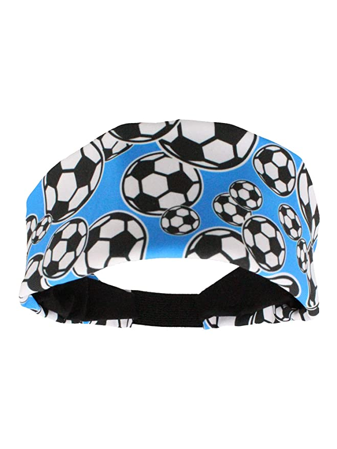 MadSportsStuff Crazy Soccer Headband with Soccer Balls (Electric Blue/Black, One Size)