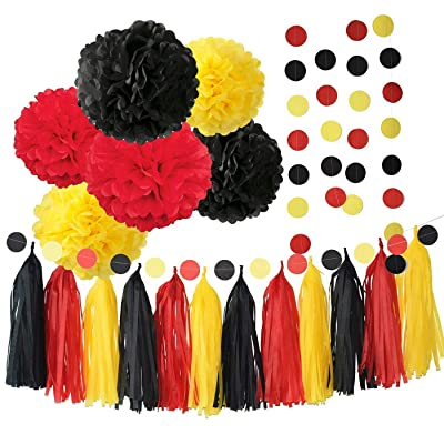 Mickey Mouse Party Supplies Minnie Mouse Backdrop Yellow Black Red Mickey Mouse Birthday Decorations/Tissue Paper Pom Pom Tassel Garland Mickey Garland Baby Shower Decorations: Toys & Games