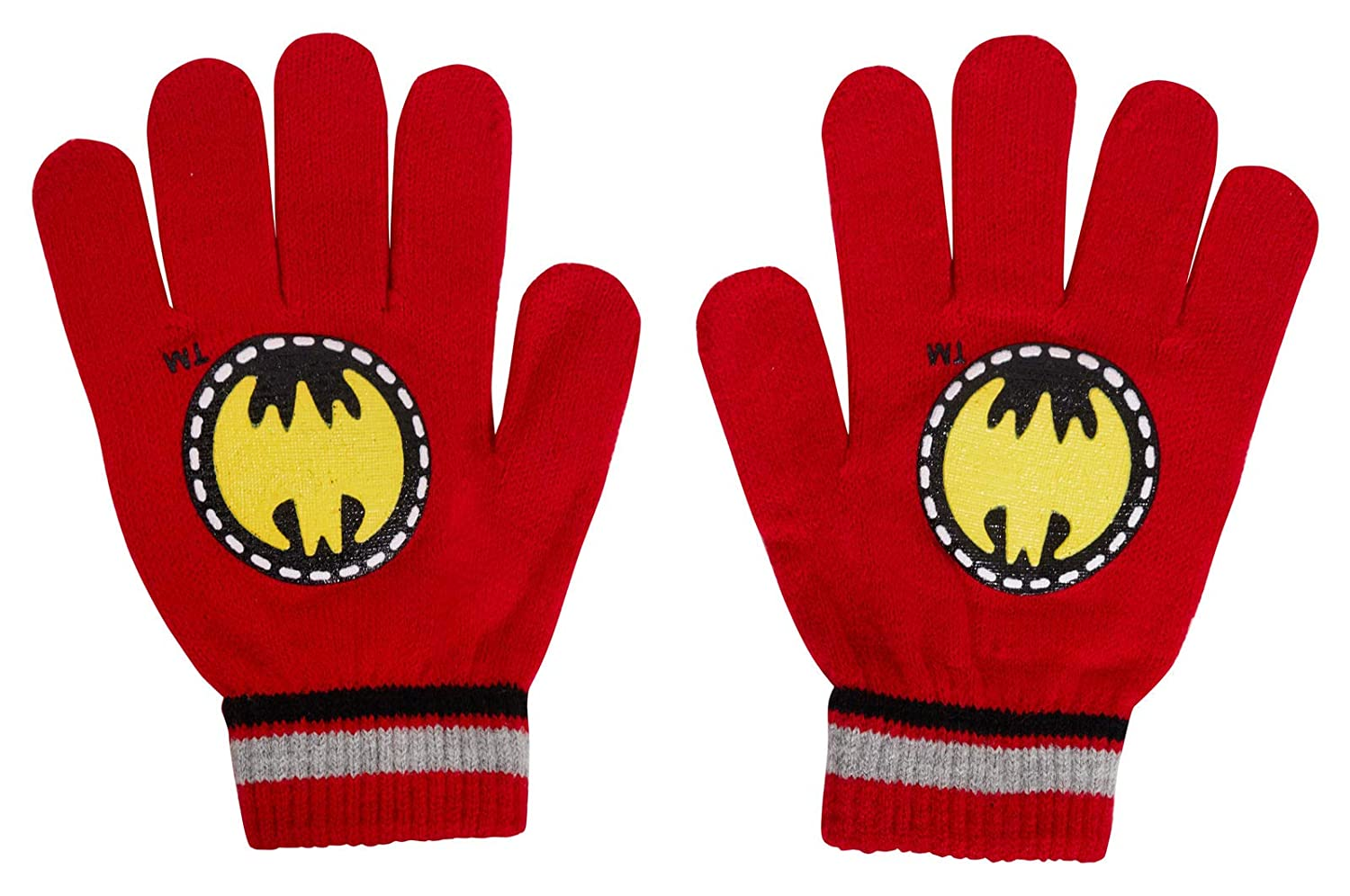 Gloves Knitted Wooly Winter Set Kids Xmas Gift DC Comics Boys Batman Bobble Hat