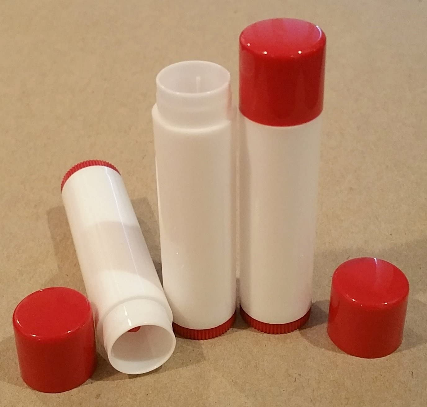 10 NEW Empty Maroon Red Top and bottom White Tube LIP Balm Chapstick Tubes Containers .15 oz / 5 ml Tube Make Your Own Chapstick Lip Balm DIY At Home with Caps