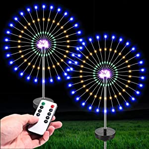 Outdoor Firework Garden Lights 120 LED Solar Powered Decorative Stakes Landscape lamp Foldable Branches IP44 Waterproof DIY Stars Tube for Walkway Pathway Backyard Decoration 2 Pack (Multi Color