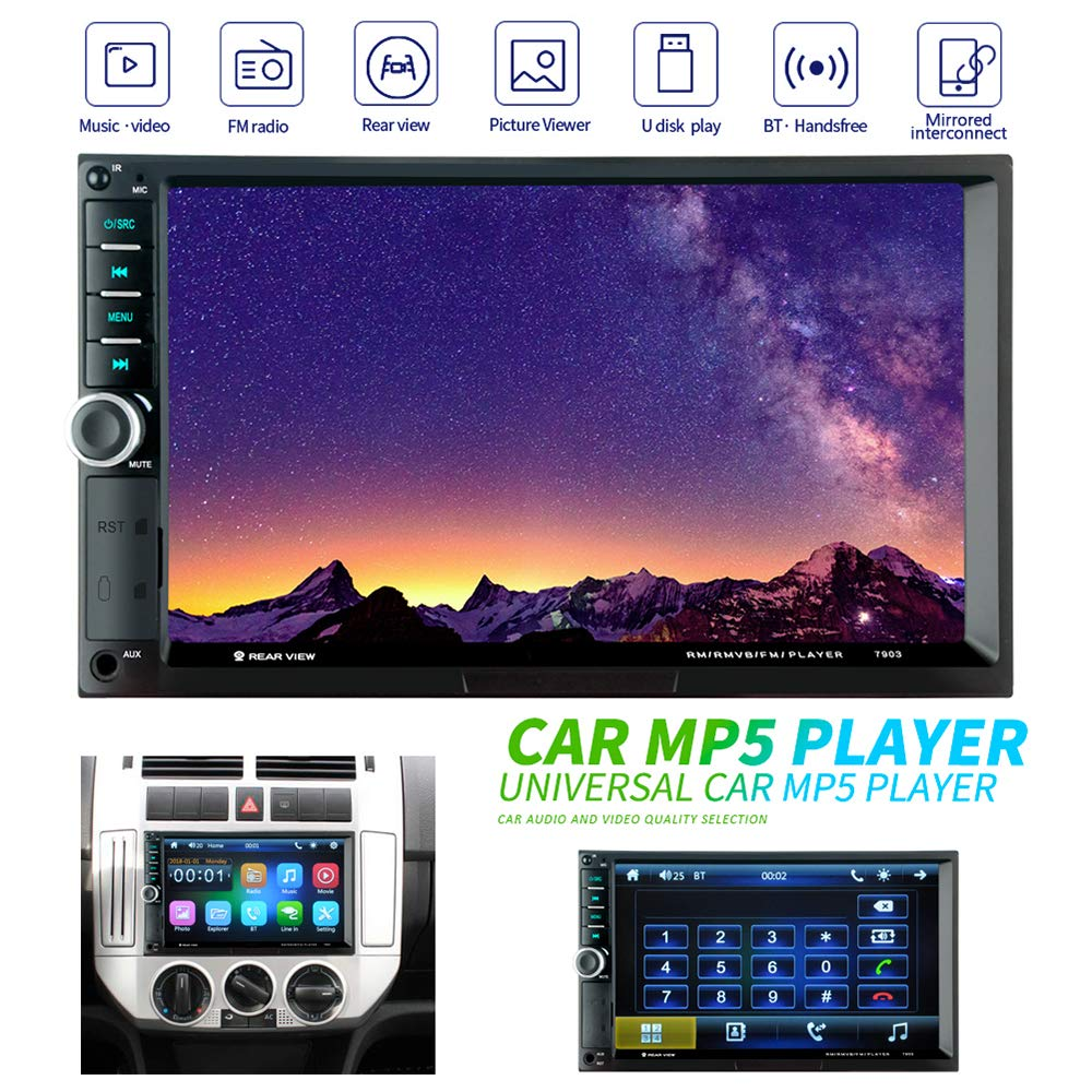 Double Din Car Stereo, LUCKYDIY 7 inch HD 1080P Touch Screen In Dash Car Radio, MP5 Player Supports Reversing Images/Mirrorlink/Bluetooth Handsfree/FM/USB/TF/Remote Control+Delicate Colorful Buttons