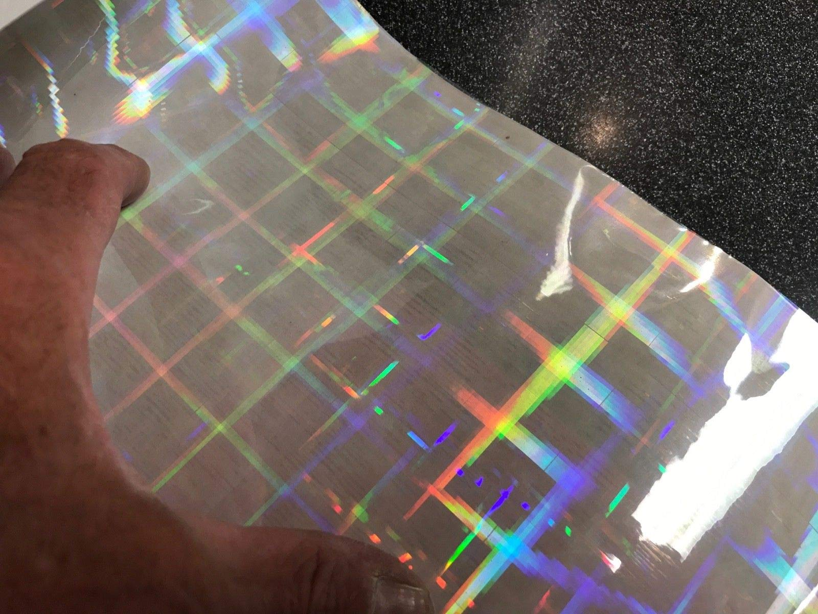 Transparent Holographic Film, Overlay Novelty Grade (Clear Plaid, 24 inch x 10 ft)