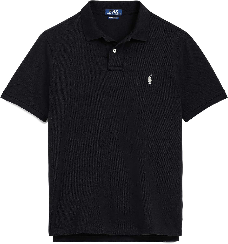 Polo Ralph Lauren Mens Polo Shirt Classic Fit (L, Black Heather)