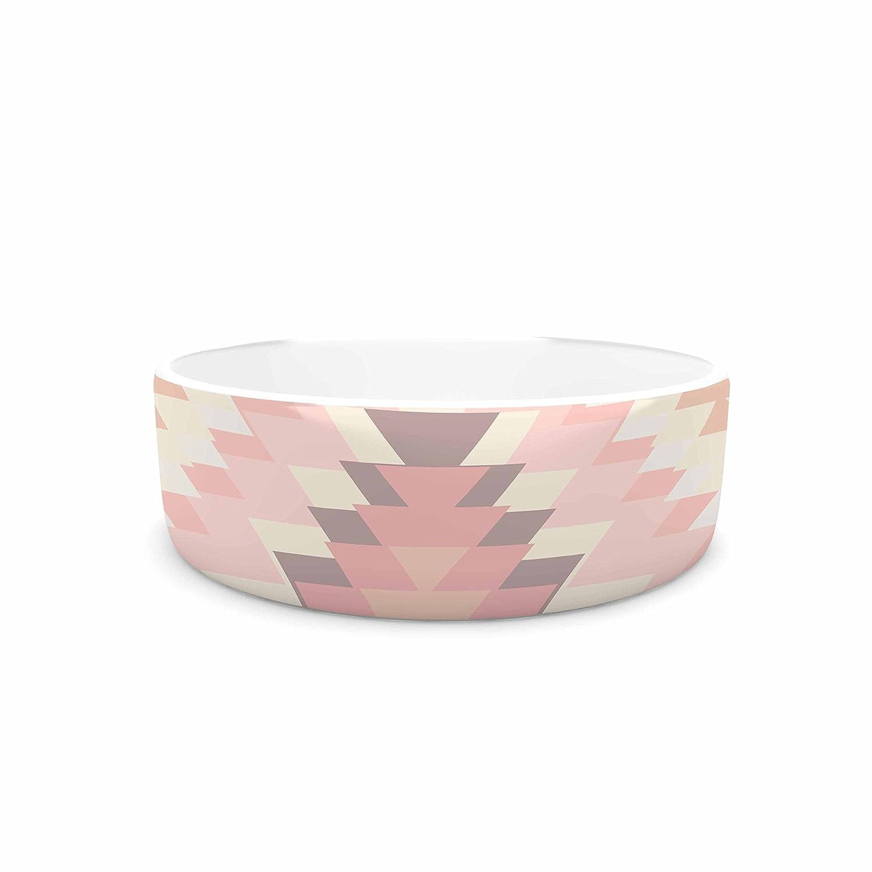 KESS InHouse Amanda Lane Soft Navajo Pink Coral Digital Pet Bowl, 7  Diameter