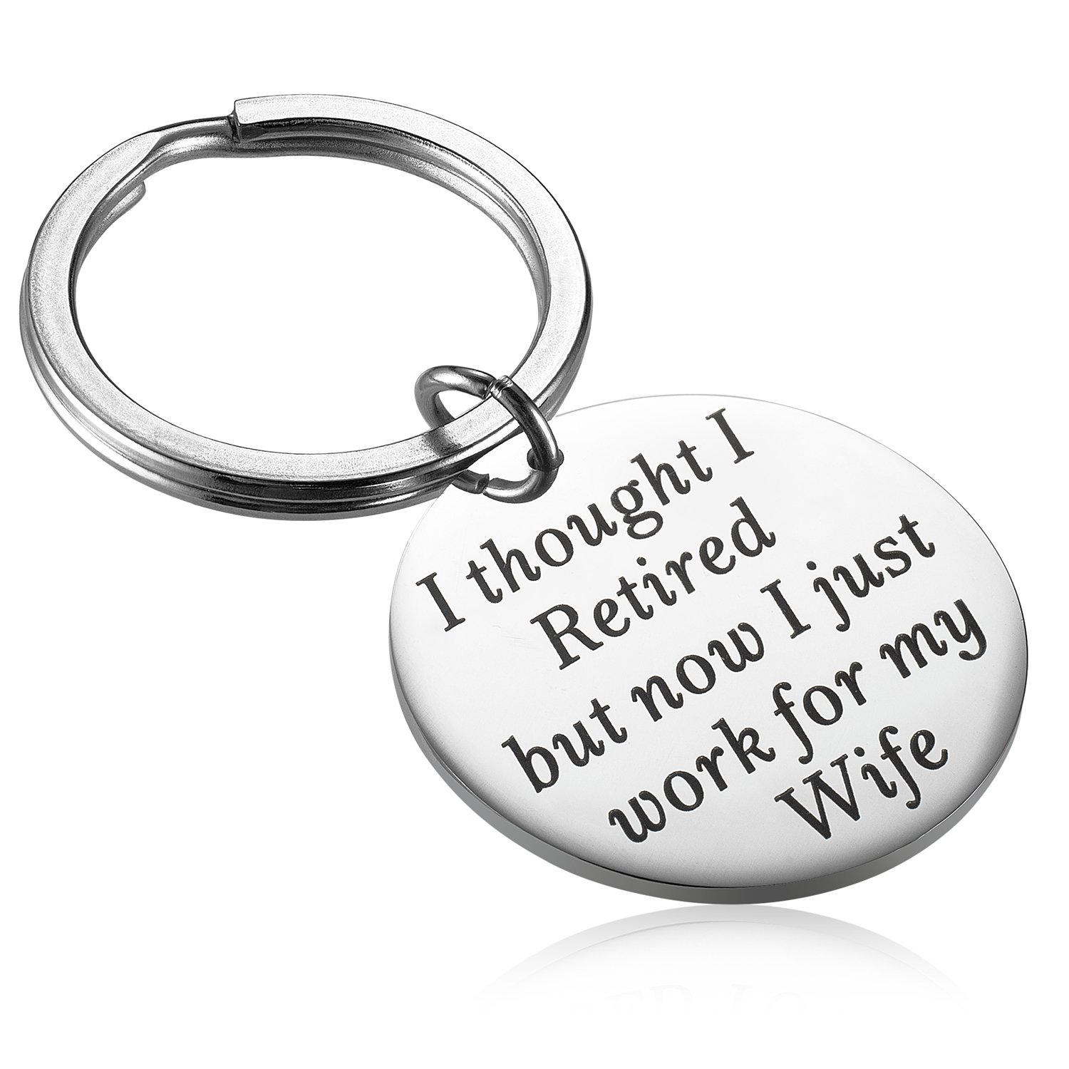 Alxeani Funny Humor Retirement Gag Gifts for Coworkers, Men and Dad, Retirement Keychain for Boss Husband Retired Now I Just Work for My Wife