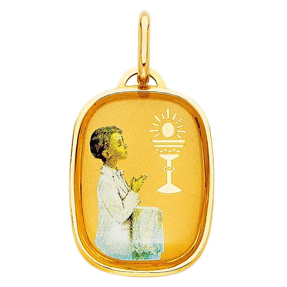 14K Yellow Gold Religious Communion Girl Charm Pendant For Necklace or Chain Ioka