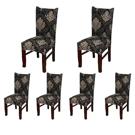 6 x morbido spandex elasticizzato Fit sedie da sala da pranzo con motivo  stampato, banchetto sedia sedile Slipcover per Hone party hotel cerimonia  di ...