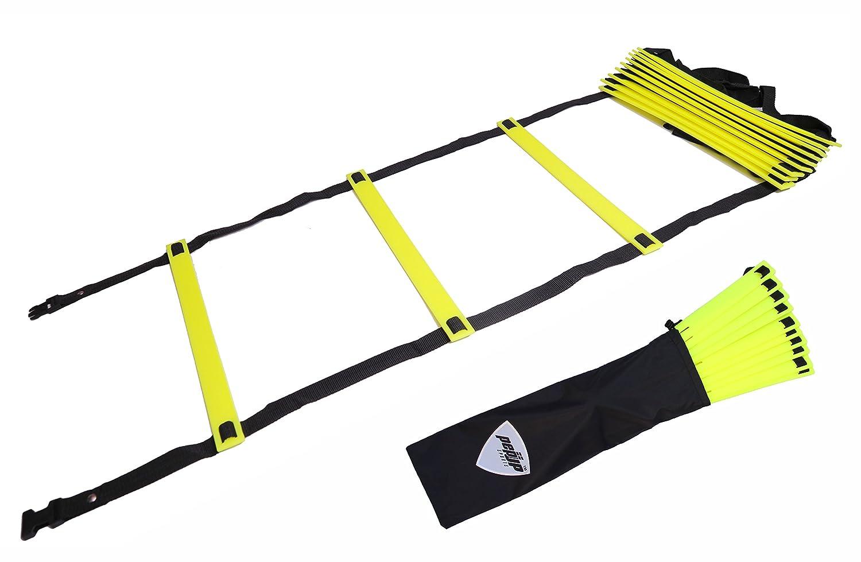PEPUP Premium Super Flat Adjustable Scala Addestramento di velocità E Agilità, Unisex – Adulto, Yellow Fluorescent, 4 m Unisex - Adulto Pepup Sports 170576