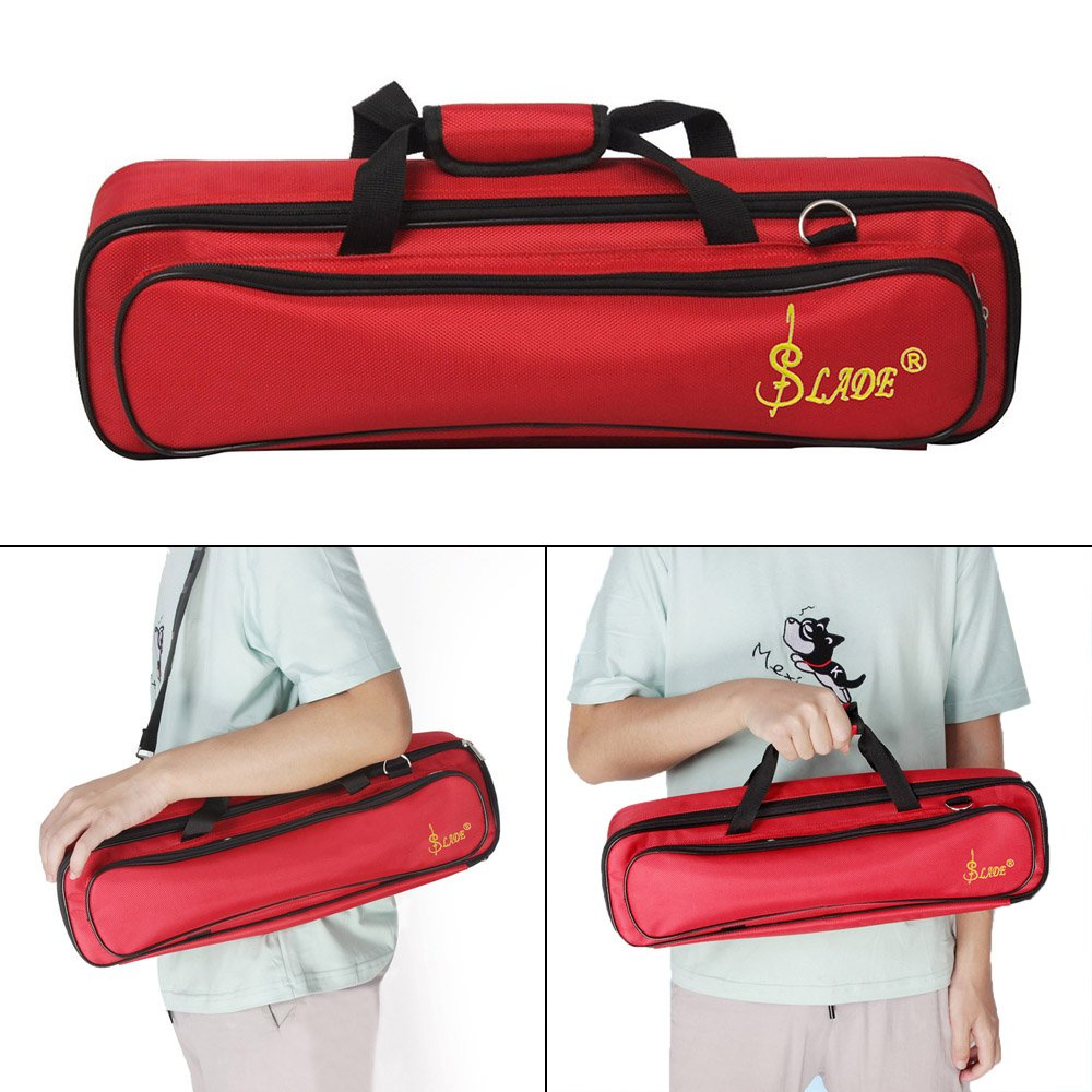 ammoon LADE Padded Flute Bag Backpack Soft Case Lightweight with Carry Handle Shoulder Strap