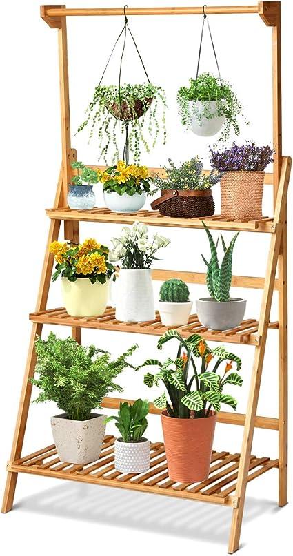 Indoor Patio Garden Folding Bamboo 3-Tier Hanging Flower Pot Rack Plant Stand