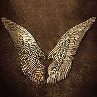 PoJu Decorazione della Parete della Scultura dell'ala Dorata, Una Coppia di Ali d'Epoca in Ferro battuto da Giardino in Ferro battuto da caffè con Decorazioni Natalizie