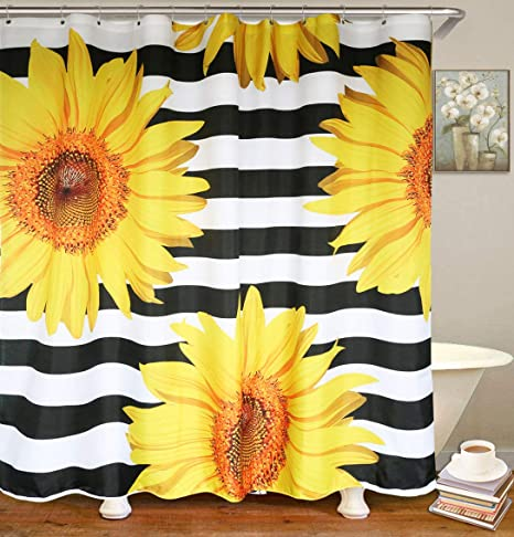 Amazon Com Cute Sunflower Shower Curtain With Hooks Waterproof Modern Fabric Bathroom Shower Curtains Machine Washable Standard Size 72 X 72 Inch Home Kitchen